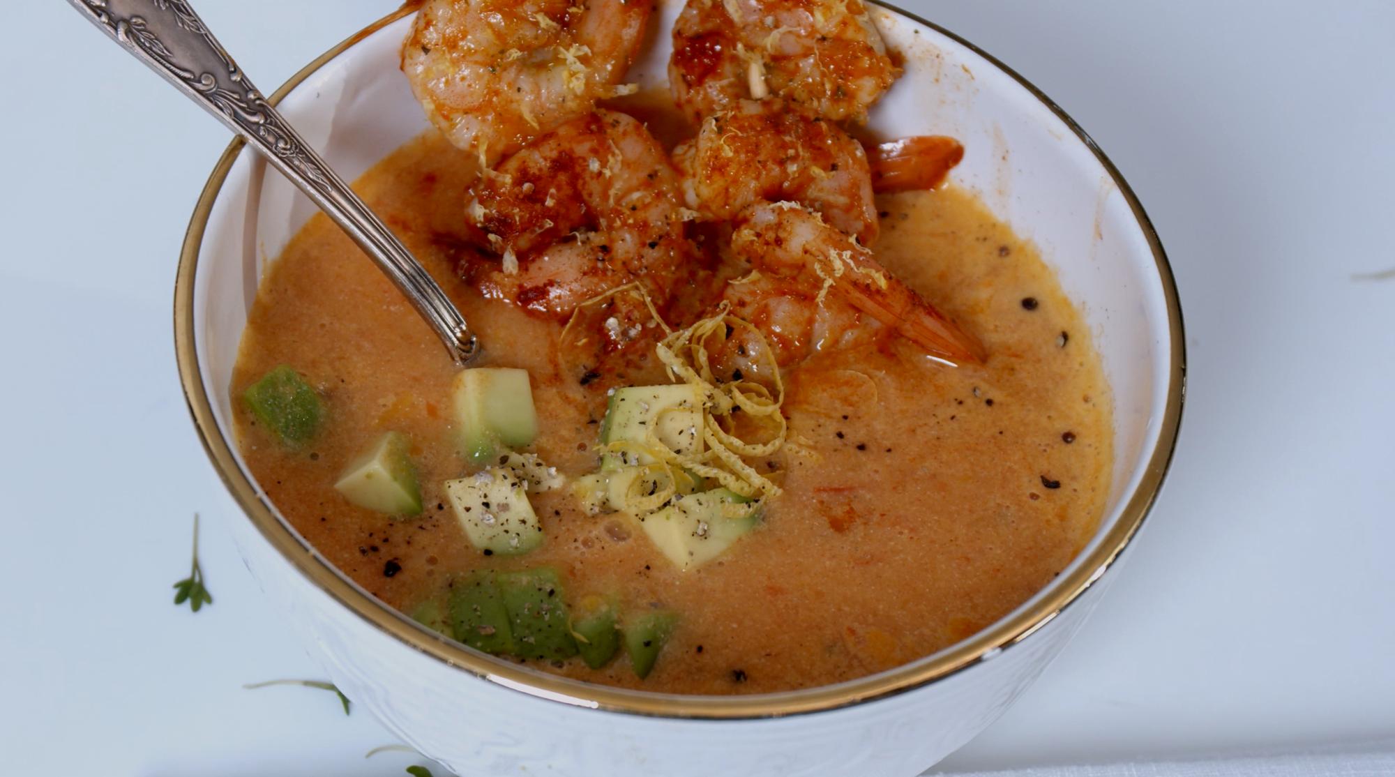 tomatensoep met gamba's