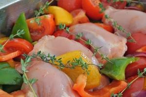 Ovenschoten van kip en groente
